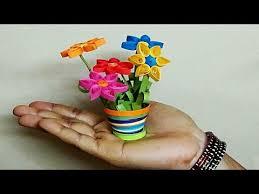 Miniature Flower Vases Quilling Flowers Quilling 3d Flower Pot Youtube