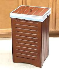 trash can cabinet insert wooden trash cans square wood wastebasket decorative edubay