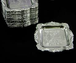 silver party favors one dozen small plastic silver favor trays wedding favors party