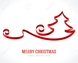 christmas tree from red ribbon background vector illustration