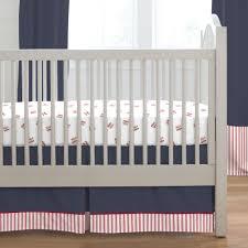 navy and red stripe crib skirt single pleat carousel designs