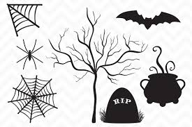 halloween ghost clipart black and white clip art vector halloween silhouette illustrations creative market