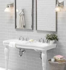 Grey Tile Bathroom by Victorian Pedestal Double Sink Vanity Pedestal Consoles And Sinks