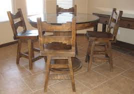 rustic round kitchen table and chairs with armless chair and glass