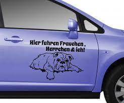 autoaufkleber sprüche autoaufkleber hund mops bulldogge spruch hier fahren frauchen