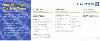 new united airlines minimum check in times started june 15 2011