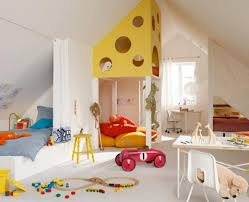 cozy attic room design for children boys with white curtain bed