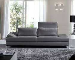 Modern Italian Leather Sofa Contemporary Sofa Upholstered In Grey Thick Italian Modern