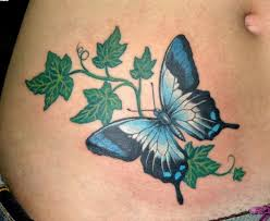 green ivy vine with butterfly tattoo design for waist