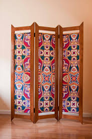 Wood Divider by Wood And African Fabric Vlisco Folding Screen Room Divider