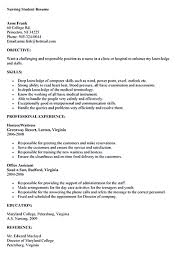 sample resume for nursing student nursing student resumes free resume example and writing download