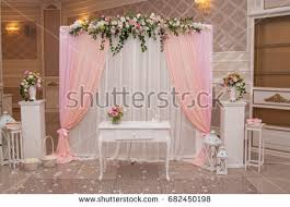 wedding backdrop arch wedding backdrop arch flower arrangement wedding stock photo
