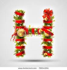 christmas font letter h christmas tree stock vector 708541894