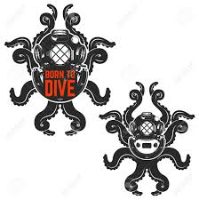 Diving Helmet Print Diver Poster - born to dive old style diver helmet with octopus tentacles