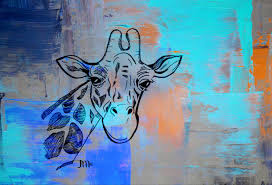 giraffe painting animals of africa print of acrylic zoom