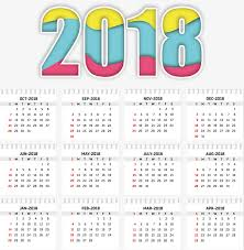 Calendar 2018 Ai Template A Colorful Calendar Template Vector Png Two Thousand And