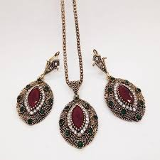 antique necklace set images 2018 women vintage jewelry set antique gold color red wine jpg
