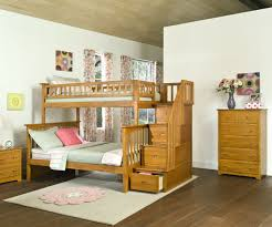 Columbia Twin Over Full Staircase Bunk Bed Caramel Latte Bedroom - White bunk beds twin over full with stairs