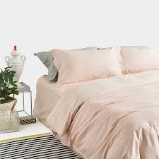 satin weave cotton pure color light pink duvet cover set sufey com