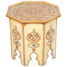 moroccan ivory hand painted side table with moorish design at 1stdibs