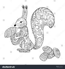 hand drawn decorated cartoon squirrel mushrooms stock vector