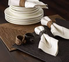 how to set a table with napkin rings tava napkin ring set of 4 espresso pottery barn