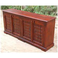 Solid Oak Buffet by 4 Door Sideboard Solid Wood Buffet Cabinet W Wrought Iron