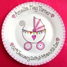 baby name plates painted new baby gift plate with pram design