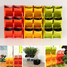 2 pocket vertical wall planter self watering hanging flower pot