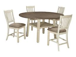 round drop leaf table set signature design by ashley bolanburg relaxed vintage 5 piece square