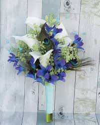 blue orchids feathers callas and purple blue orchids real touch silk wedding