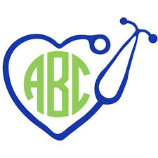 monogram decals stethoscope heart monogram decal with circle font