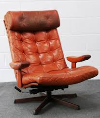 Swedish Leather Recliner Chairs Mobel Sweden Leather Button Back Easy Chair H90cm D89cm W76cm