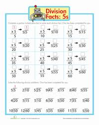 division math facts worksheet education com