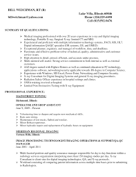 Resume Summary Of Qualifications X Ray Technician Resume Sample Xpertresumes Com