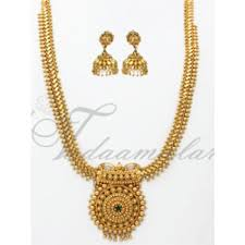 gold small necklace designs images Long necklace pendant and earring india design gold plated jpg