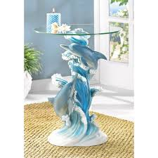 Glass Top Accent Table Accent Table Playful Dolphins Sculpture Coffee Table With Glass