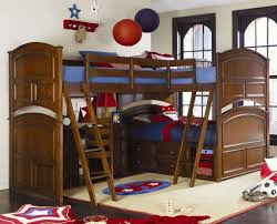 Cherry Bunk Bed Bedroom Bedroom Tier Bunk Bed With Blankets And