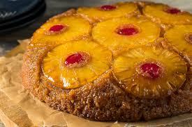 sweet homemade pineapple upside down cake stock photo image