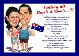 buy custom aussie caricature bogan party invitations australia
