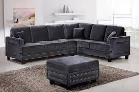 grey fabric modern living room sectional sofa w wooden legs ferrara sectional sofa 655 in grey velvet fabric w options