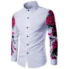 design pattern of dress 2017 new arrival man shirt pattern design long sleeve floral flowers