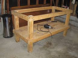 Plans For Building A Woodworking Workbench by Garage Wooden Workbench Plans How To Build A Work Bench