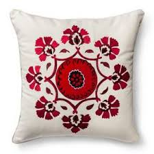 Target Decorative Bed Pillows Kora Embroidered Medallion Throw Pillow Red Cream Square