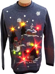 sweaters that light up womens light up fishing snowman sweater