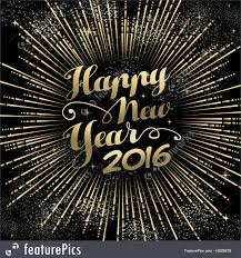 holidays new year 2016 greeting card gold firework stock