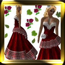 second life marketplace k u0026l christmas gown red