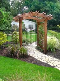 remarkable trellis garden walkways with artistic wooden gateway
