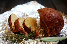 vegan thanksgiving loaf turkey on the outside bread on the