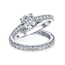 silver wedding ring bridal cz solitaire engagement wedding ring set